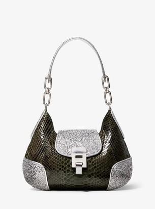 Michael Kors Bancroft Medium Python and Glitter Shoulder Bag
