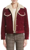 Marc Jacobs Women's Crop Corduroy Jacket With Faux Shearling Trim