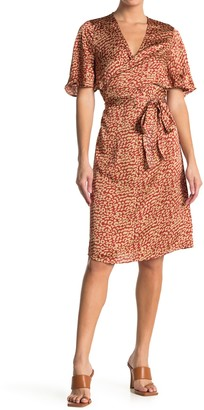 Love Stitch Leopard Print Tie Waist Satin Dress