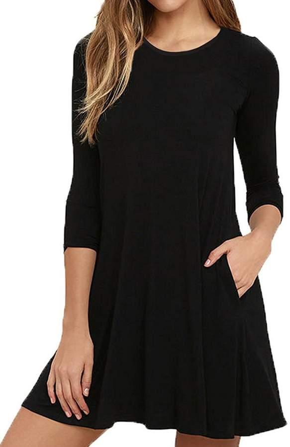 Hunter Bestisun Women's Fall Round Neckline Tshirt Autumn Dresses 3/4 Sleeve Tunic Autumn Dress Swing Hem Piko Tops Women Casual Work Tunic Black
