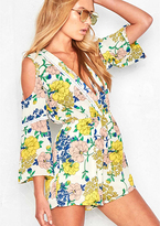 Missy Empire Camille White Floral V Plunge Playsuit