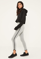 Missguided Grey Side Stripe Curve Hem Detail Leggings