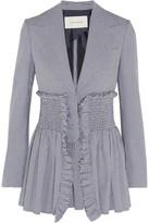 Cédric Charlier Shirred Houndstooth Cotton-piqué Blazer - IT42