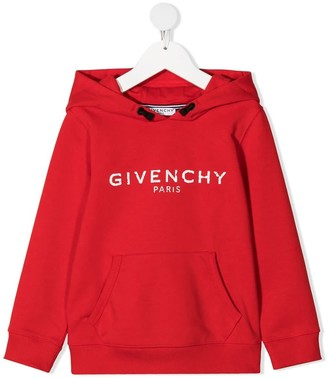 Givenchy Red Jersey Hoodie With Logo Print
