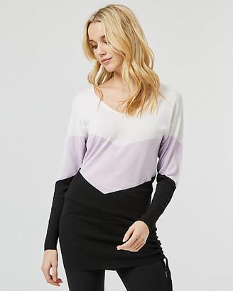 Le Château Colour Block Knit V-Neck Tunic Sweater