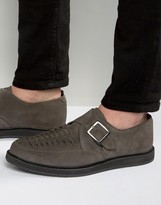 Asos Monk Shoes In Woven Grey Suede