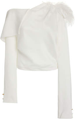Hellessy Aube Feather-Trimmed Satin Pique Top