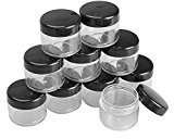 TOPWEL 10PCS 15 Gram Refillable Black Plastic Screw Cap Lid with Clear Base Empty Plastic Container Jars for Nail Powder Bottles Eye Shadow Container Lot Powder Container