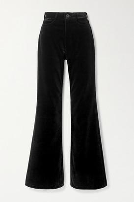 Meryll Rogge Cotton-velvet Flared Pants - Black