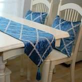 EDVE European new high-end velvet diamond lattice table runner Silver Blue coffee-color