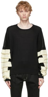 Sulvam Black Knit Ruffled Sweater