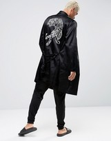Asos Satin Dressing Gown With Tiger Embroidery