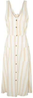 Pepe Jeans Linen Mix Sleeveless Midi Dress with V-Neck in Striped Print