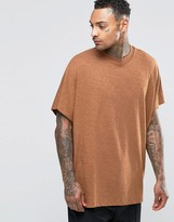 Asos Extreme Oversized T-Shirt In Textured Slub With Wide Neck Trim