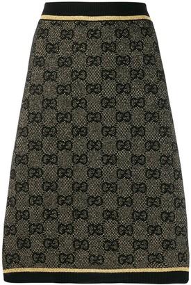 Gucci GG print metallic finish skirt