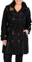 Excelled Leather Excelled Faux-Wool Belted Trench Coat - Plus