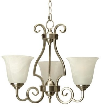 Centreville 3-Light Shaded Classic / Traditional Chandelier Alcott Hill Finish: Brushed Nickel with Alabaster Glass