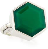 Stephen Dweck Green Agate Hexagon Ring, Size 6