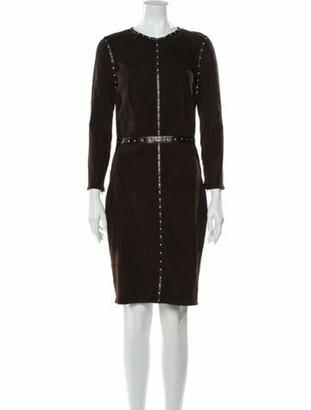 Jitrois Crew Neck Knee-Length Dress Brown