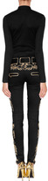 Balmain Low Rise Embroidered Biker Jeans in Black