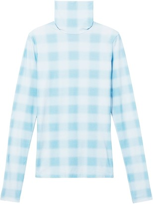 Proenza Schouler White Label Diffused Gingham Jersey Long Sleeve Turtleneck