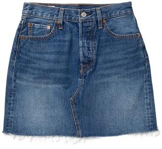 Levi's High Waist Raw Hem Denim Mini Skirt