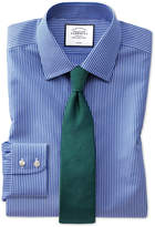 Extra Slim Fit Non-Iron Stripe Blue and White Cotton Formal Shirt Single Cuff Size 14.5/33
