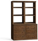 "Pottery Barn Bookcase with Drawers (2 24"" bases with drawers & 2 24"" hutches with open shelves)"
