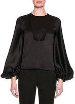 Giorgio Armani Silk Satin Blouson-Sleeve Top, Black