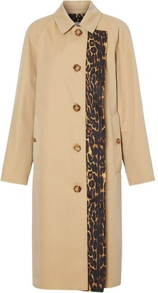 Burberry Leopard Print Trim Trench Coat