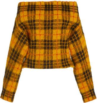 MONSE Tartan Plaid Off-The-Shoulder Sweater