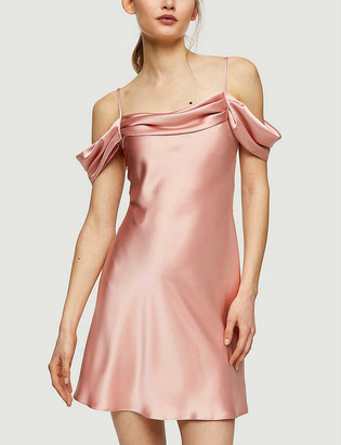 Topshop Cold-shoulder stretch-satin mini dress