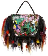 Queen Fur & Embellished Leather Bag