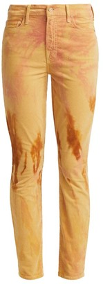 Mother Looker High-Rise Tie-Dye Corduroy Skinny Jeans