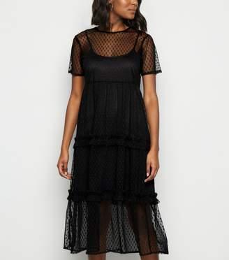 New Look Influence Mesh Tiered Smock Midi Dress
