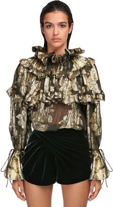 Saint Laurent Ruffled Devore Silk Shirt