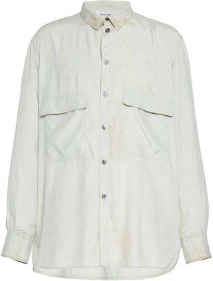 Rochas Marbled Silk Button-Up Shirt