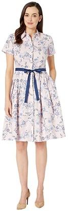 Donna Morgan Short Sleeve Stretch Cotton Poplin Shirtdress with Contrast Grosgrain Belt (Blush/Blue) Women's Clothing