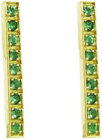 Jennifer Meyer Emerald Long Bar Stud Earrings - Yellow Gold