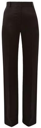 Bella Freud David Herringbone-satin Flared Tailored Trousers - Womens - Black