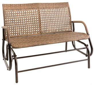 Evergreen North Garden Outdoor Wicker Love Seat Glider Bench - 49x36x28