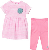 Joules Bright Pink Stripe Dress and Leggings Set
