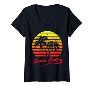 Womens Santa Cruz 80s Summer Beach Palm Tree Sunset V-Neck T-Shirt