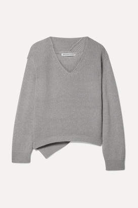 Alexander Wang Ribbed Cotton-blend Sweater - Light gray