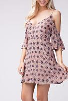 Honey Punch Floral Cold Shoulder Dress