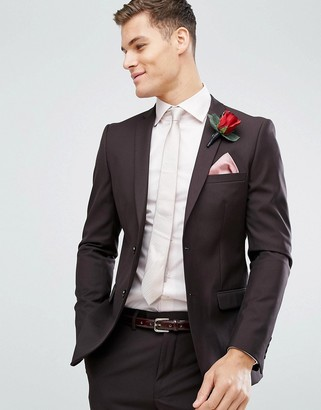 French Connection Skinny Wedding Suit Jacket In Dark Burgundy