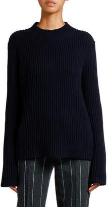 Giorgio Armani Mock-Neck Ribbed Cashmere Sweater