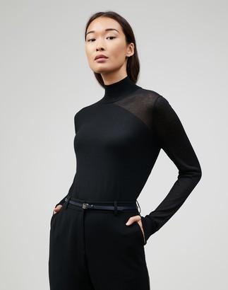 Lafayette 148 New York Petite Fine Gauge Merino Mockneck Sheer Panel Sweater