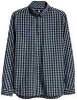 H&M Cotton Poplin Shirt - Dark blue/checked - Men