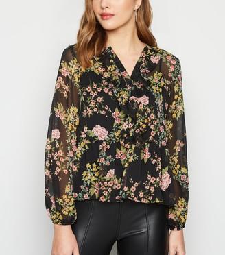 New Look Floral Frill Chiffon Peplum Shirt